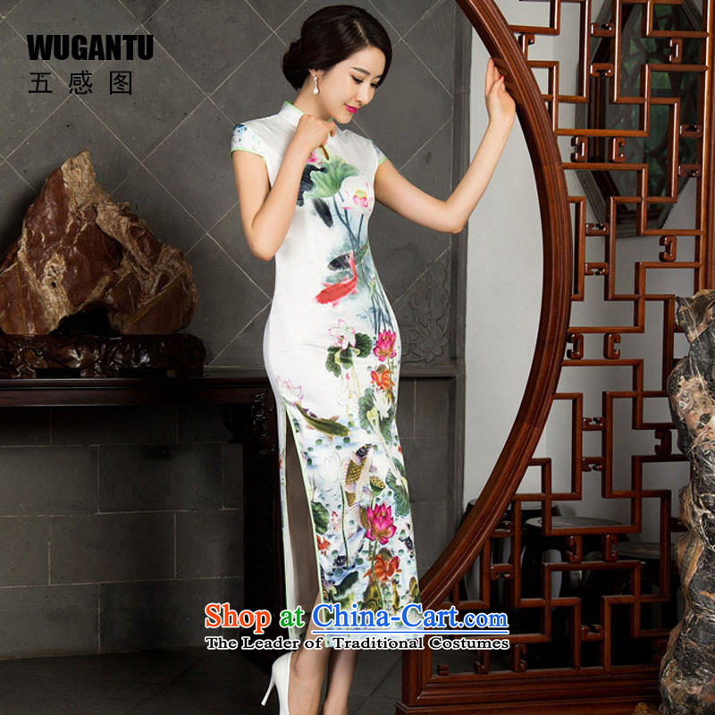 The five senses Figure Boxed new upscale autumn day banquet long qipao silk dress dresses Chinese style qipao female picture color XXL