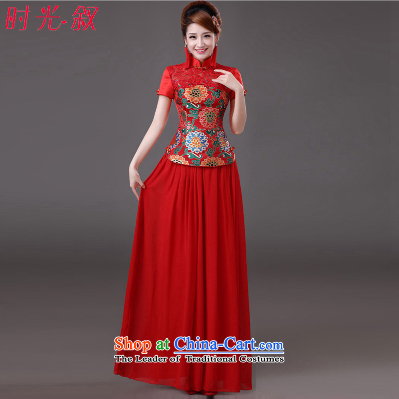 The Syrian brides service time bows Wedding Dress Short skirts, improved qipao Summer 2015 new water-soluble lace Sau San video thin retro chinese women serving the lift mast red燲XL