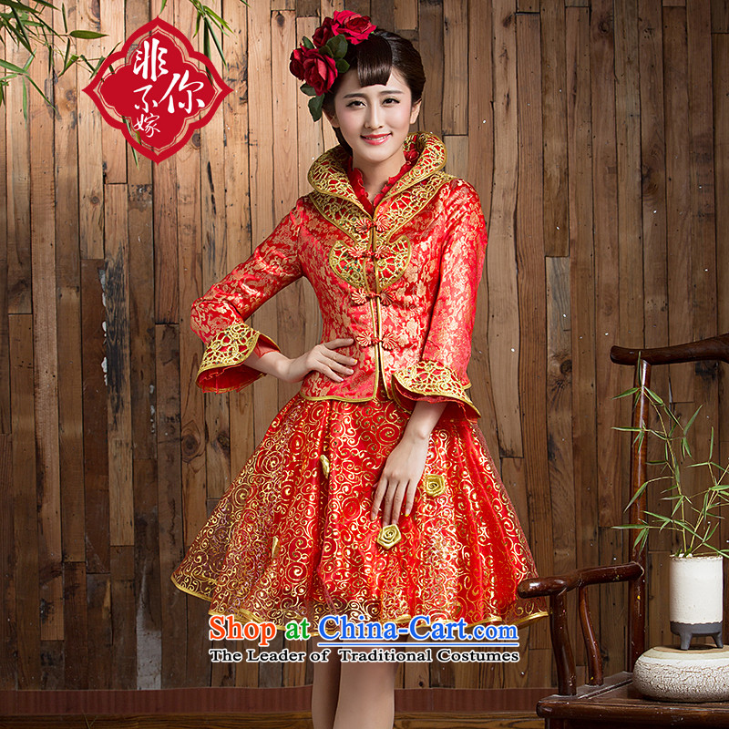 Non-you do not marry?2015 NEW CHINESE CHEONGSAM with gold wire damask stylish wedding dress short the door onto retro red wedding gown Sau San Red?XL