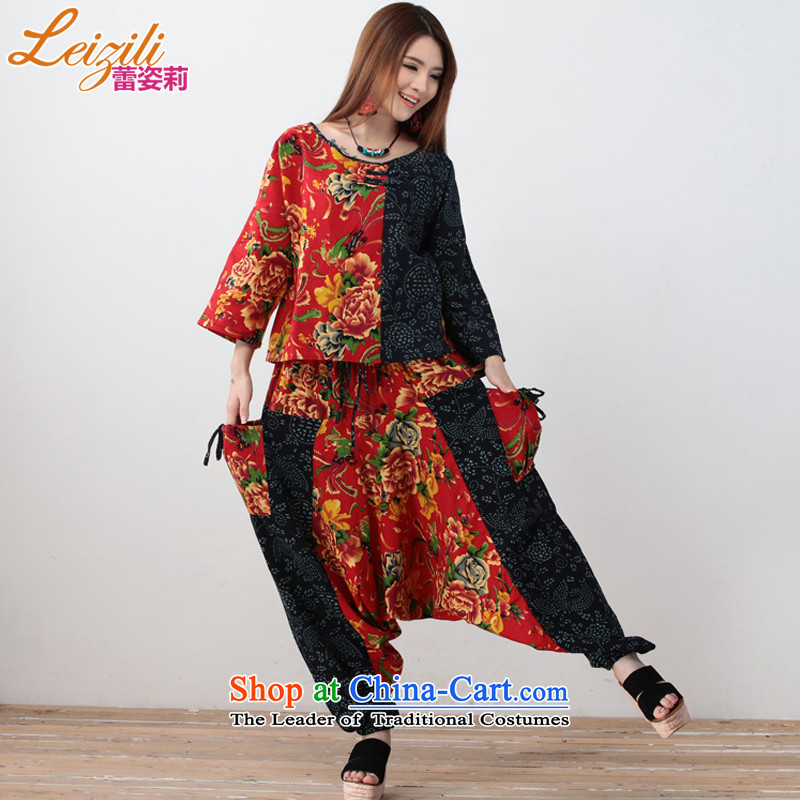 Lei Li China leizili Gigi Lai-new sports suits retro ethnic ladies casual shirt + hanging down civil trousers two kits square dance services package red燲L