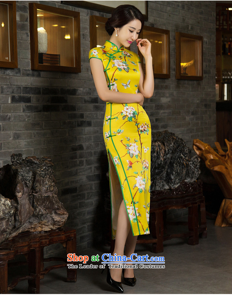 Mr Yuen Mei 2015 Ms. covered by so long cheongsam with retro autumn Ms. Aura qipao and long stylish cheongsam dress M12027 YELLOW XXL picture, prices, brand platters! The elections are supplied in the national character of distribution, so action, buy now enjoy more preferential! As soon as possible.