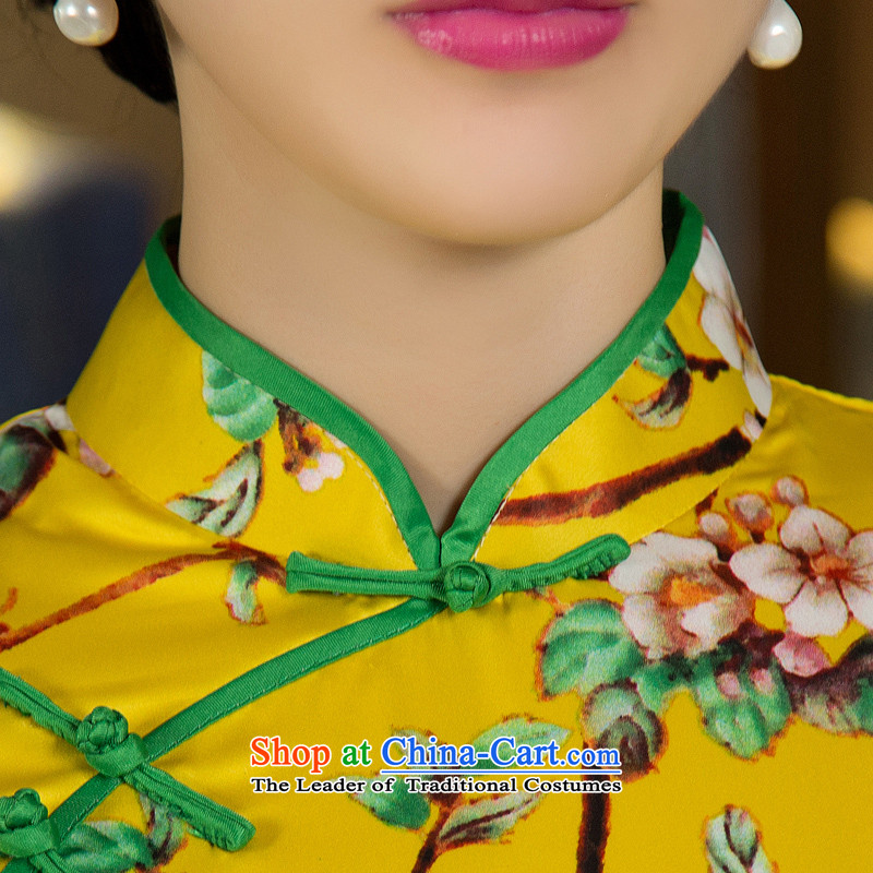 Mr Yuen Mei 2015 Ms. covered by so long cheongsam with retro autumn Ms. Aura qipao and long stylish cheongsam dress M12027  XXL, Yuan of yellow (YUAN SU shopping on the Internet has been pressed.)
