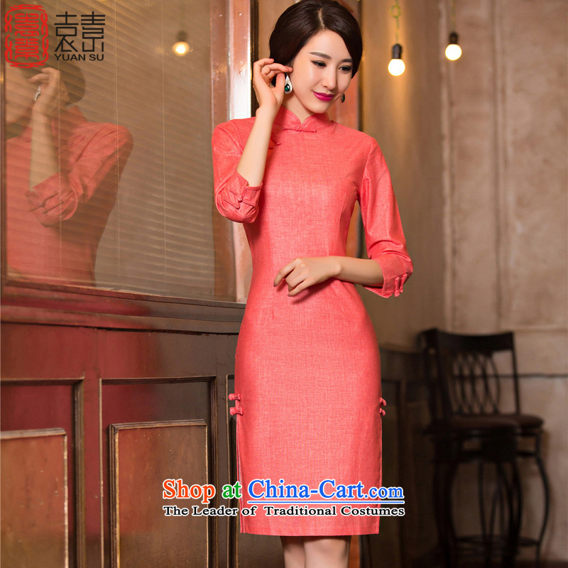 Yuan of lady in 2015 Long qipao retro skirt the new improved qipao autumn in literary and artistic cotton linen with long-sleeved M110076 7 better red XXL