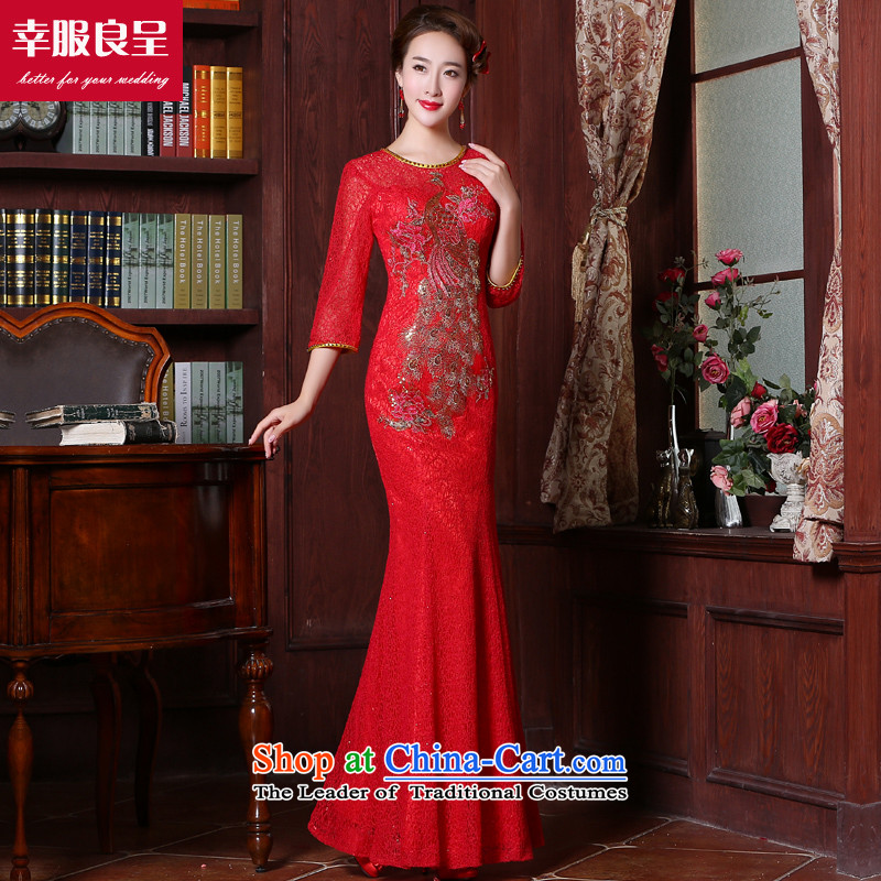 Red bride bows to Chinese wedding dresses cheongsam dress wedding gown bride replace the door service long gown 7 Cuff crowsfoot燬