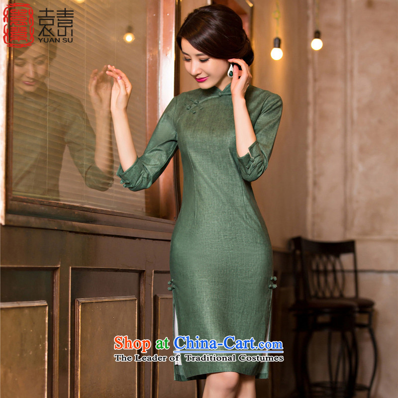 Yuan of green ink in 2015 Long cheongsam with fine linen retro autumn cheongsam dress new 7 cuff improved cheongsam dress M110078 dark green L