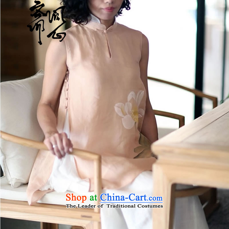 Ask the heart of Ramadan _Ming heart health female Spring New China gentle winds pure silk lining hand-painted sleeveless shirt that 1,715 All Pink燬