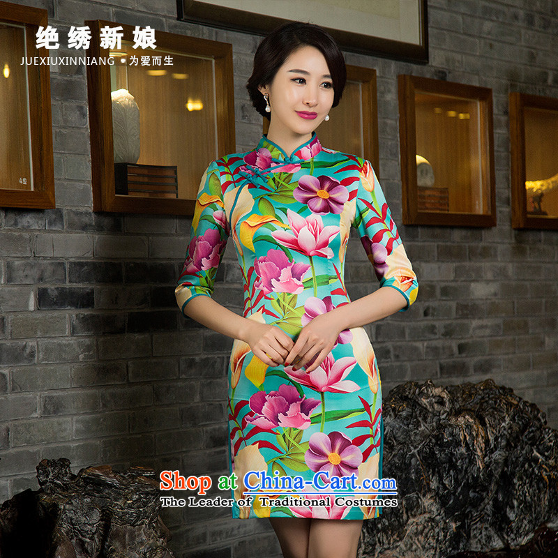 Embroidered bride�15 summer is by no means new retro Sau San girls daily short of qipao improved short skirt_ 11029 M Suzhou Shipment