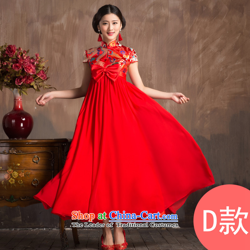 Non-you do not marry?2015 new pregnant women serving Chinese style wedding improvement of bows larger dresses Top Loin collar Bow Ties with elegant qipao back door onto?D- Top Loin short-sleeved long skirt?4XL