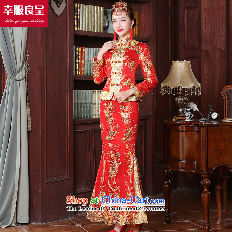 The bride with a drink service 2015 new red stylish?Qipao Length improved of Chinese wedding dress wedding dress larger long-sleeved long skirt�L