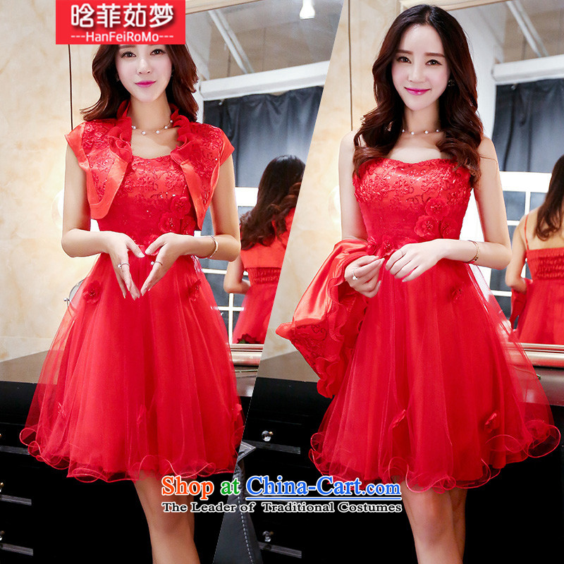 Detailed, Ju Meng�15 Autumn replacing new aristocratic new bride dress a marriage red dress bows serving two kits dresses female red燲XL