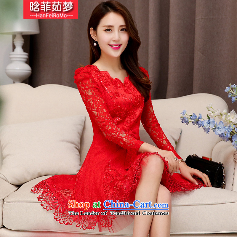 Detailed, Ju Meng?2015 winter spring and autumn the new bride wedding dress banquet small wind stylish look of incense Sau San short skirts pearl nail long-sleeved video thin, forming the dresses red?XXL