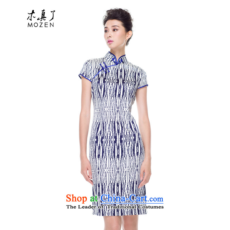 The 2015 autumn wood really new Silk Cheongsam dress women's stylish cheongsam dress Sau San dresses 53425 of 02 Blue on white?Xxl(a)