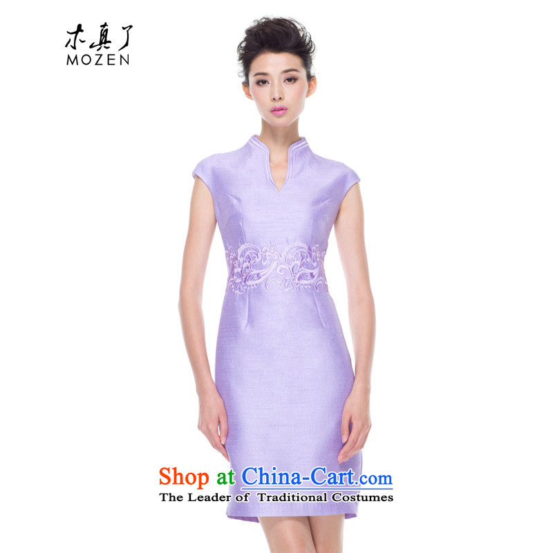 The 2015 autumn wood really new improved women's day-to-Sau San qipao cheongsam dress dresses banquet embroidery 53443 17 light purple?L