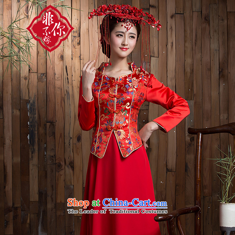 Non-you do not marry燼utumn 2015 new wedding dress silk damask bows to sepia long-sleeved qipao Chinese enhancement of Sau San embroidery back door onto Red�L