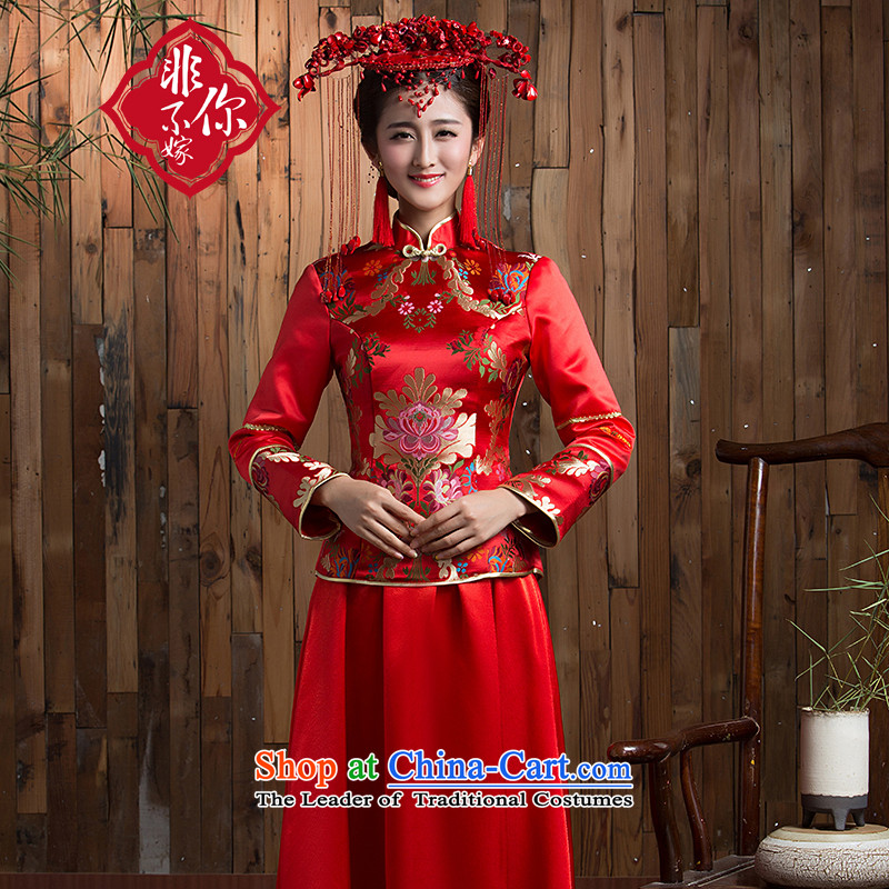 Non-you do not marry�15 autumn and winter new wedding dress upscale Kam Yi long skirt classical collar bows serving Chinese red color Sau San embroidery cheongsam wedding gown red燲L