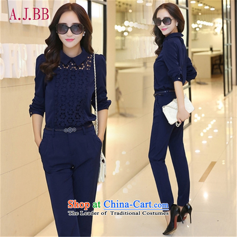 'Connie Korean Memnarch autumn 2015 installed new women's professional attire lace stitching for long-sleeved video thin dolls pencil trousers two kits micro-letter agent?XXL