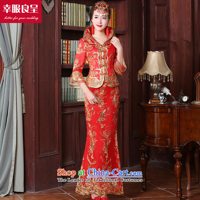 Red bows service bridal dresses with long 2015 New Chinese wedding dress back door service wedding dress 7 Cuff?S