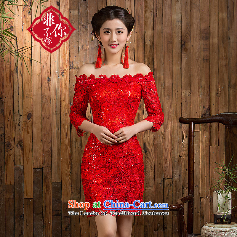 Non-you do not marry?autumn 2015 new bows to red lace engraving a field shoulder dresses in sexy cuff wedding dress Chinese wedding gown in Sau San Red?L