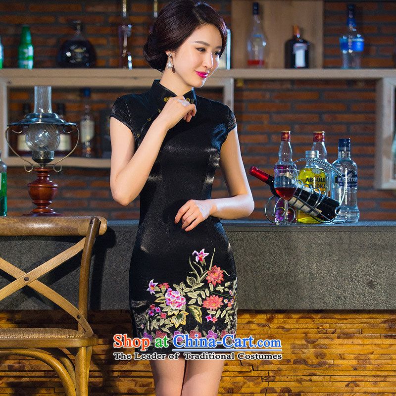 Time-to-day improved qipao Syrian short, 2015 New black cheongsam dress autumn Ms. retro cheongsam dress MOM pack black?L