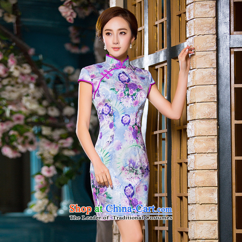 Time the? new autumn 2015 Syria replace short qipao improved stylish Sau San cheongsam dress retro-day large picture color qipao?S