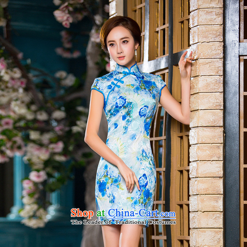 Time the爊ew autumn 2015 Syria replace short qipao improved stylish Sau San cheongsam dress code retro-day qipao maximum load color pictures mother燤
