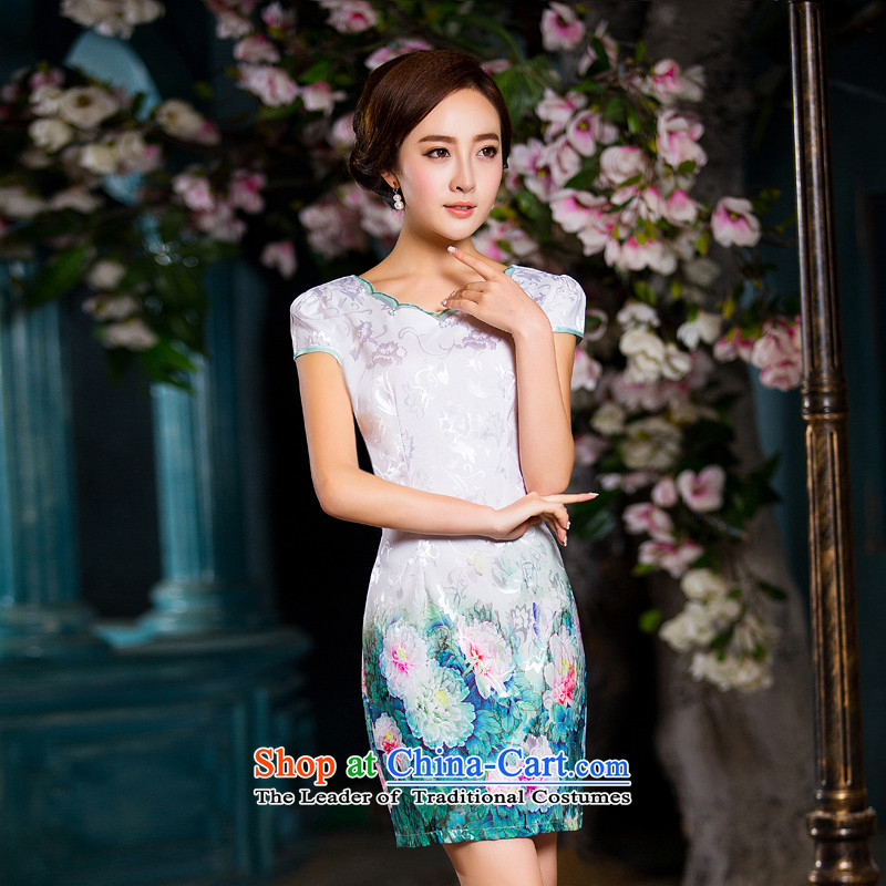Time Syrian� qipao autumn 2015 replacing the new daily dresses improved stylish and elegant qipao gown small strain Sau San round-neck collar picture color燬