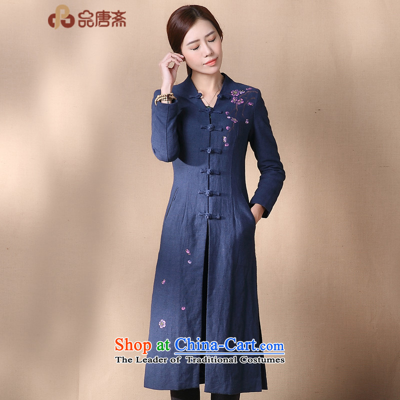 No. of Ramadan 2015 Autumn Load Tang new cheongsam improved cotton linen antique dresses Blue?M