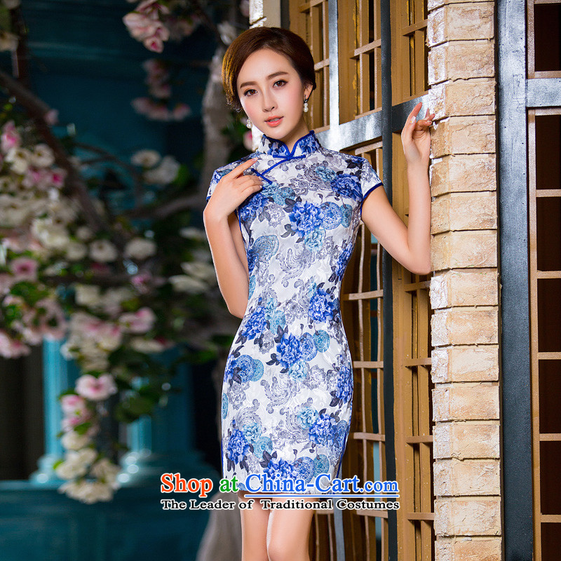 Time the new Syrian_ Autumn replacing cheongsam dress porcelain retro qipao skirt Sau San dresses female qipao gown picture color banquet S