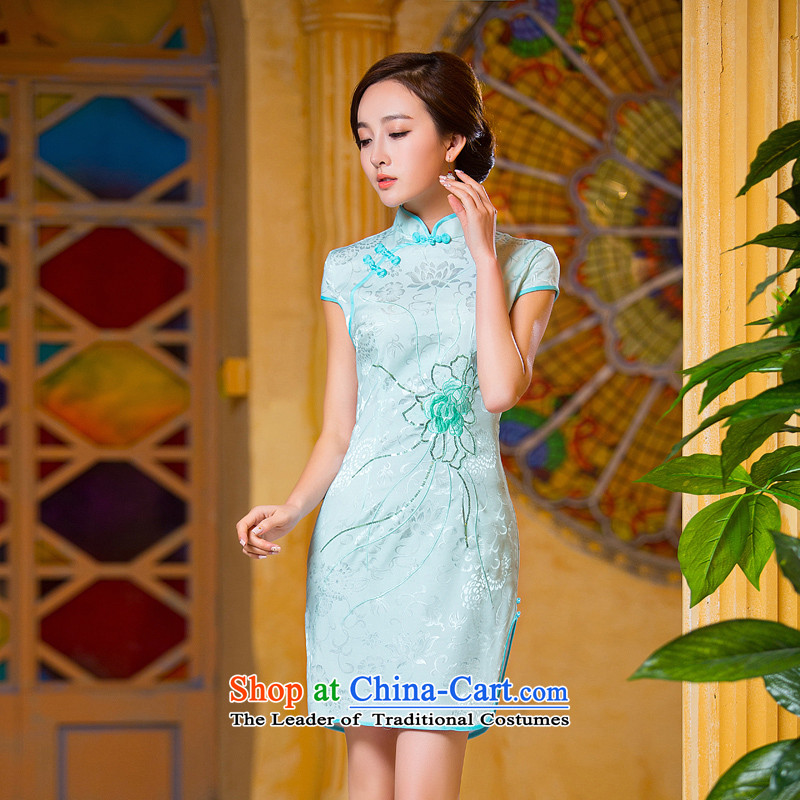 Time Syrian? women's autumn 2015 new ethnic Chinese Embroidery Stamp retro look like video thin Sau San short-sleeved cheongsam dress light green?S