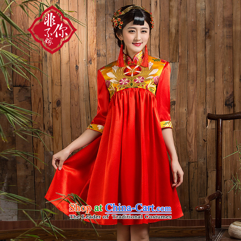 Non-you do not marry?with the new 2015 Autumn bows to Korea version of large numbers of pregnant women with Chinese retro cheongsam wedding dress collar short high-waist dresses?3XL red