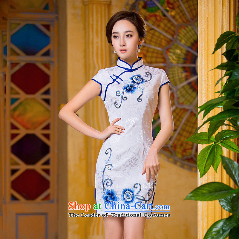 Time Syria China wind hand-painted improved qipao new stylish autumn 2015 Sau San daily short of embroidery cheongsam dress White燲XL