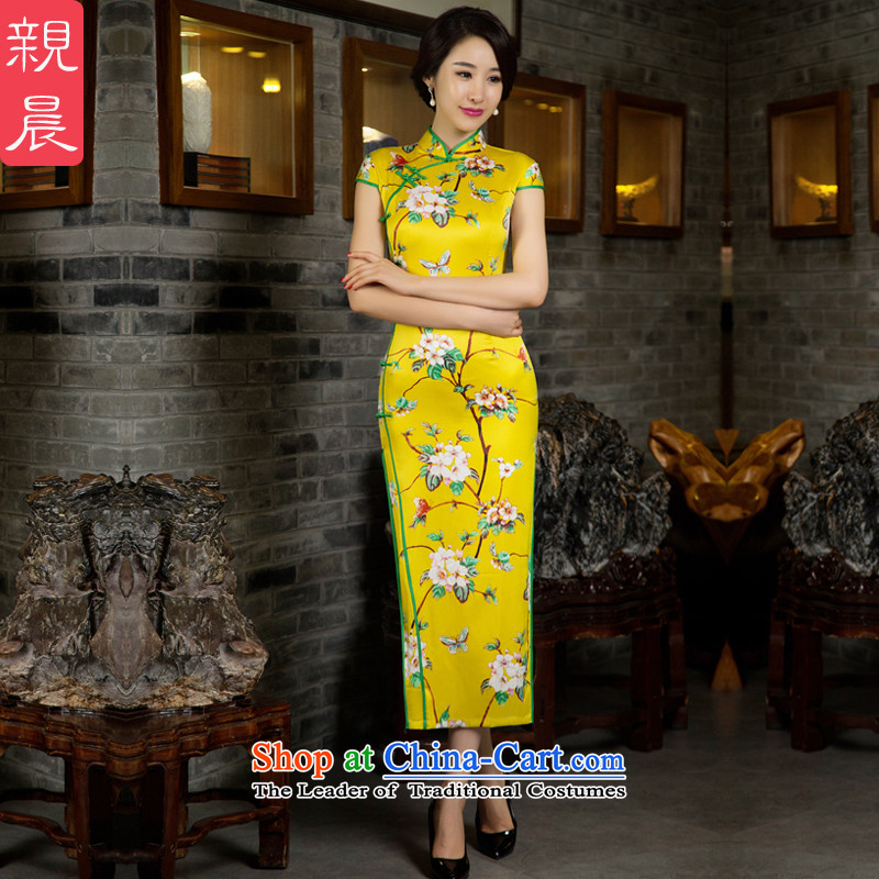 The pro-am daily Silk Cheongsam long 2015 new improved cheongsam dress retro Sau San short-sleeved yellow peach flowers fall Ms. Green Side M