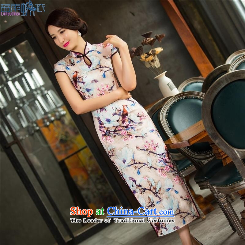 The autumn and winter new cheongsam dress long double cheongsam dress sleeveless qipao Template Characteristics聽XL