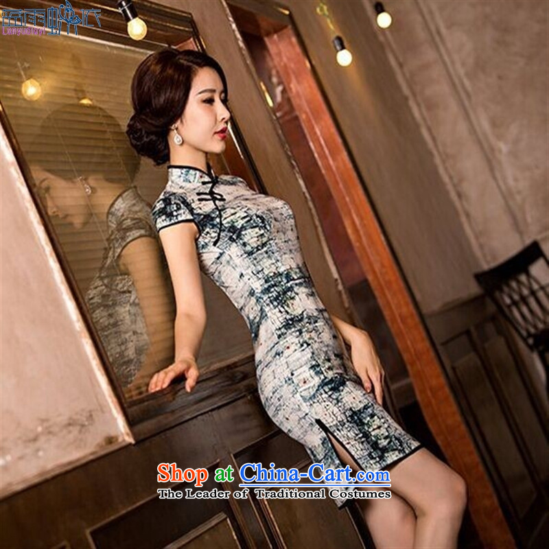 Summer 2015 new stylish improved herbs extract qipao skirt retro Ms. Sau San Sau San cheongsam dress?L