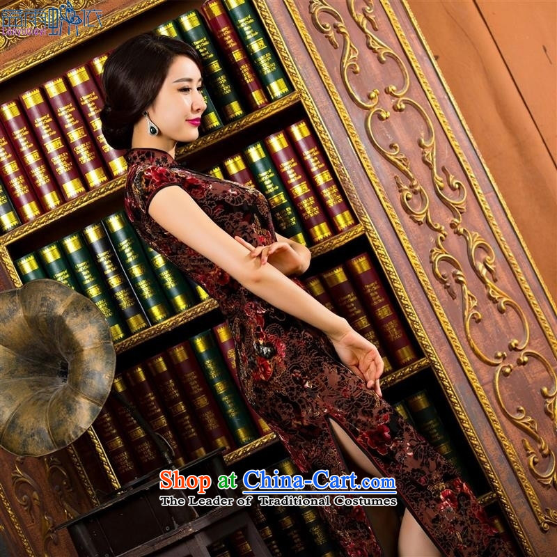 The new trendy summer qipao Sau San cheongsam dress high on's long qipao brown velvet L