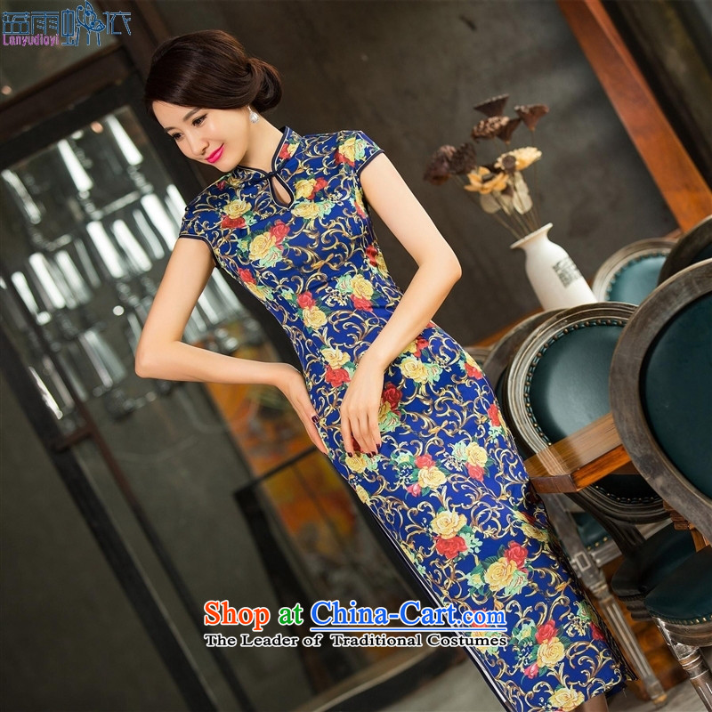 The new summer long Silk Cheongsam Sau San short-sleeved cheongsam dress collar cheongsam dress聽11014 L