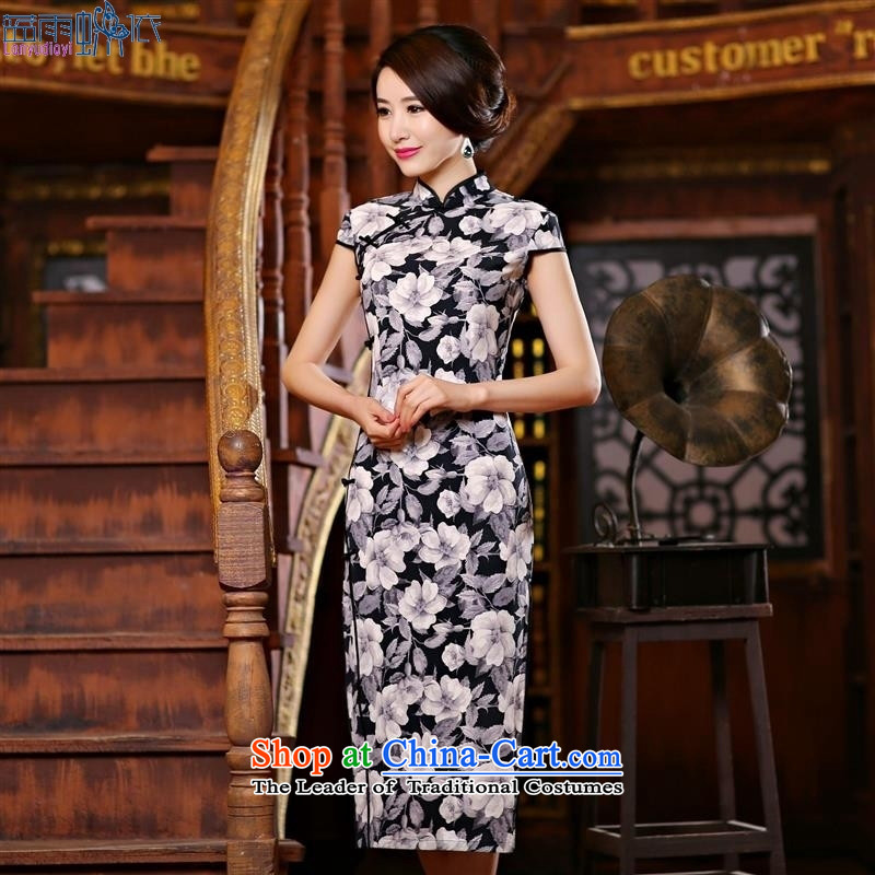 Stylish and elegant sexy changed Leung Sau San video thin dresses retro show long elegance qipao gown new blue燲XL