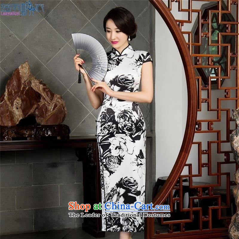 Qipao dresses autumn) Improved stylish long sleeveless cheongsam dress qipao?12021 M