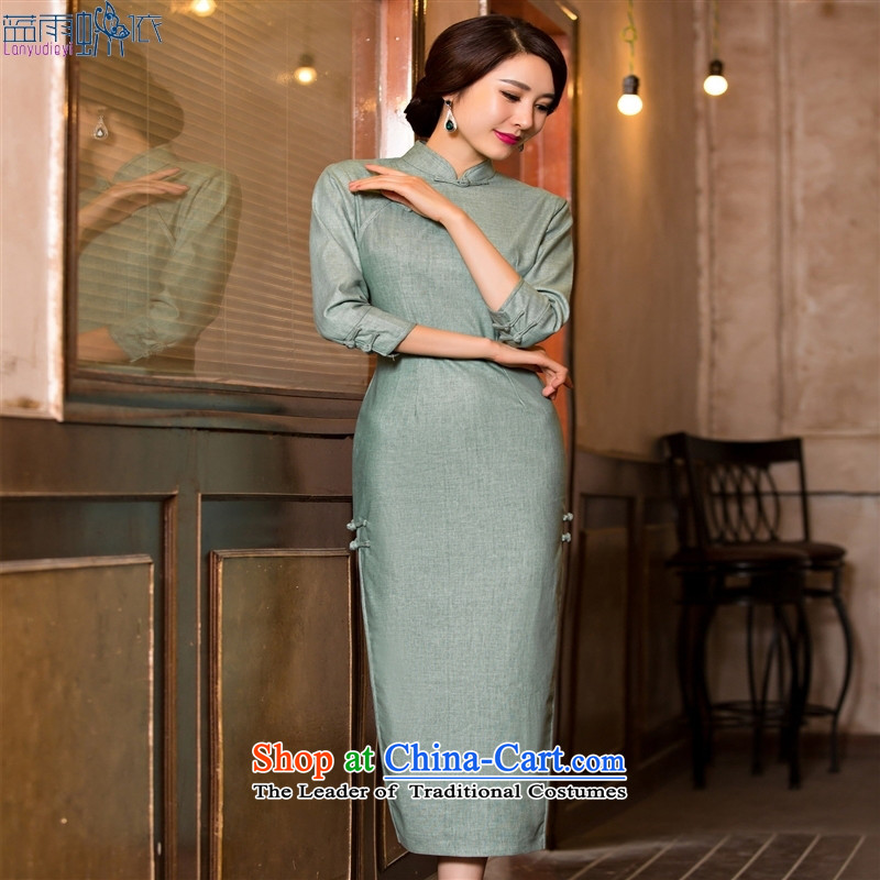 In the summer and autumn of 2015 New Long linen dresses pure color improved stylish cheongsam dress cheongsam dress?120081 XL