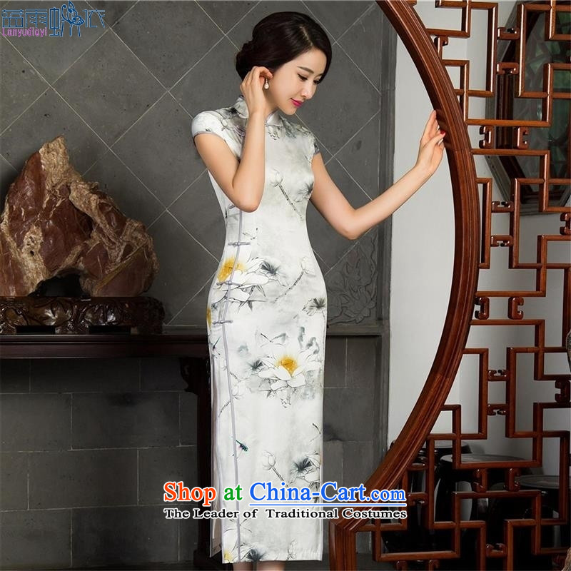 New retro cheongsam dress qipao autumn Sau San long retro cheongsam dress聽12018 M