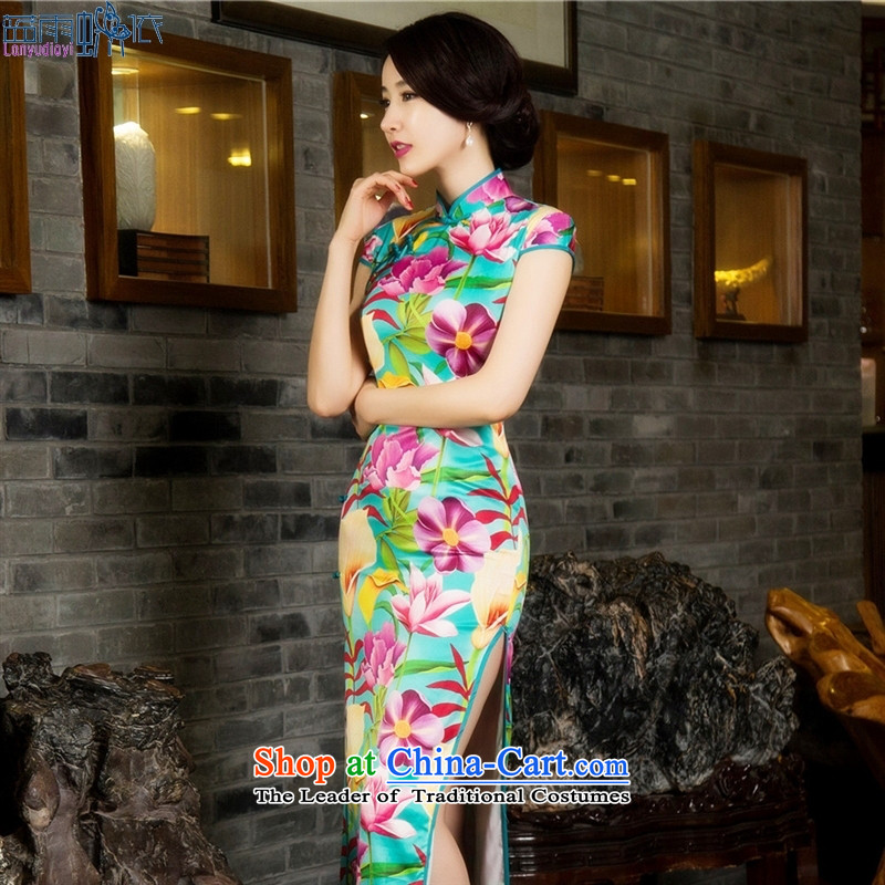 Silk Cheongsam dress up sleeveless qipao stamp Qipao Length _ _�015 Template Characteristics燬