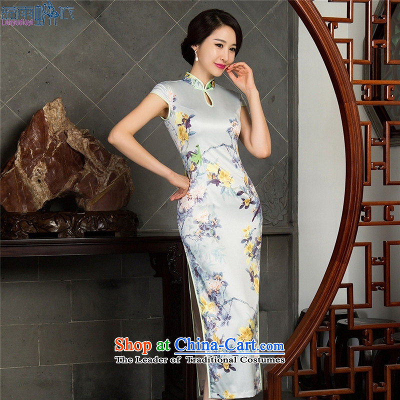 The new long cheongsam dress high on's sleeveless cheongsam dress qipao�017 S