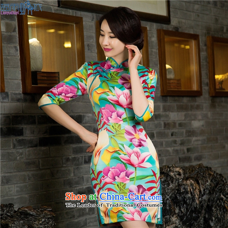 Silk Cheongsam ethnic retro in cuff summer qipao skirt?11029( 2015) Double M
