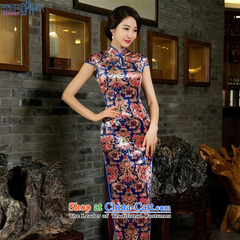 Summer 2015 new stylish improved long_ scouring pads cheongsam dress retro Sau San daily qipao video thin dresses female picture color聽L