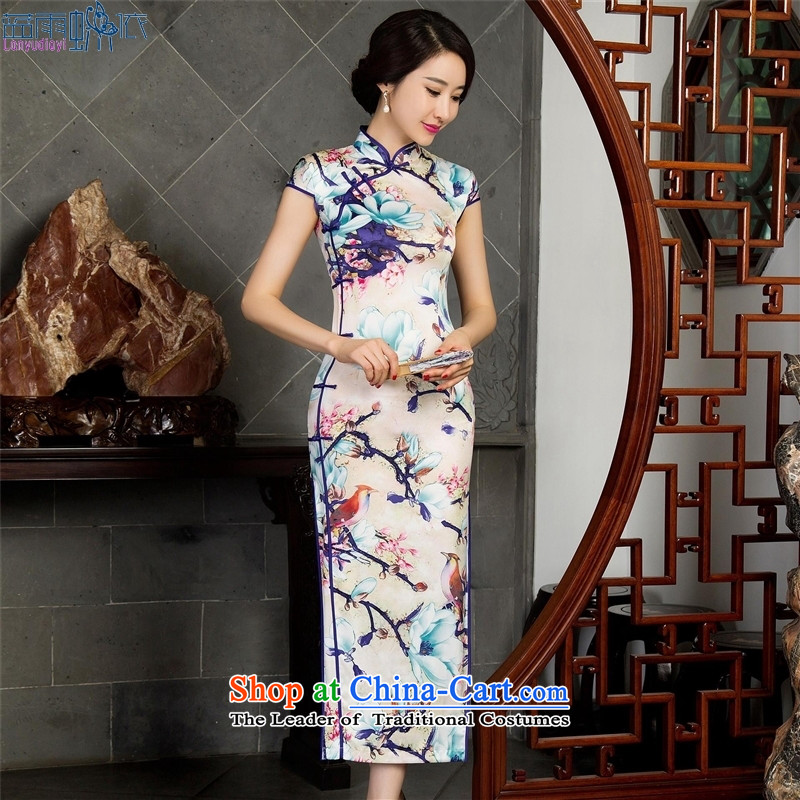 The fall of short-sleeved long qipao improved stylish silk cheongsam dress 12023 XL