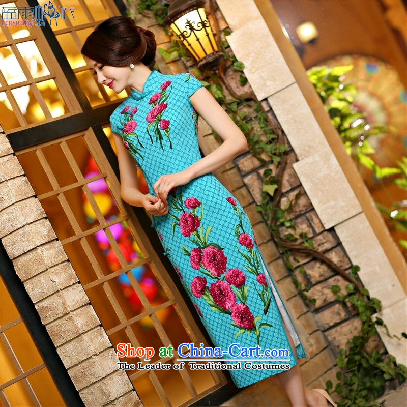 In spring and summer 2015 new high of the forklift truck and sexy beauty long qipao daily improved cheongsam dress suit Female聽1005 XXL