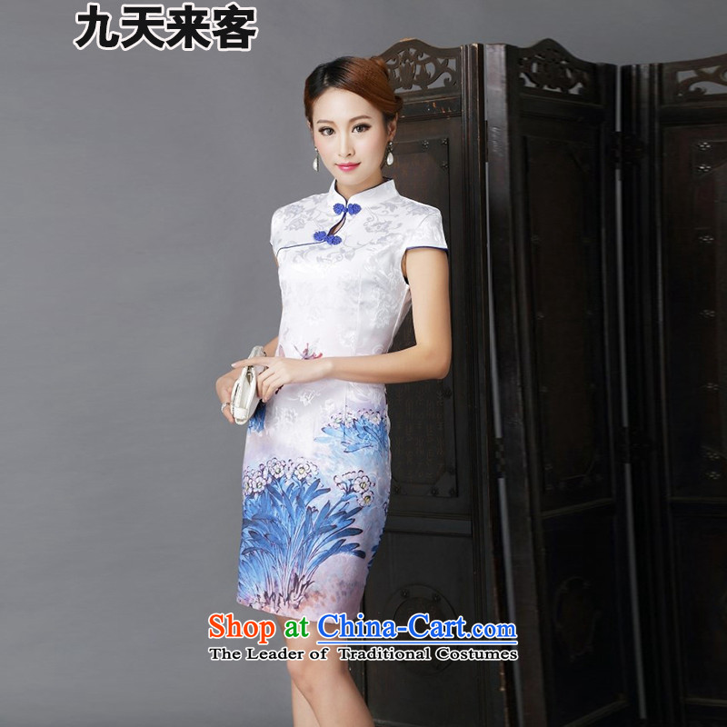 9 Day Visitors 2015 ethnic new Tang dynasty fashion improved daily sexy cheongsam dress Sau San 6,632 dark blue燣