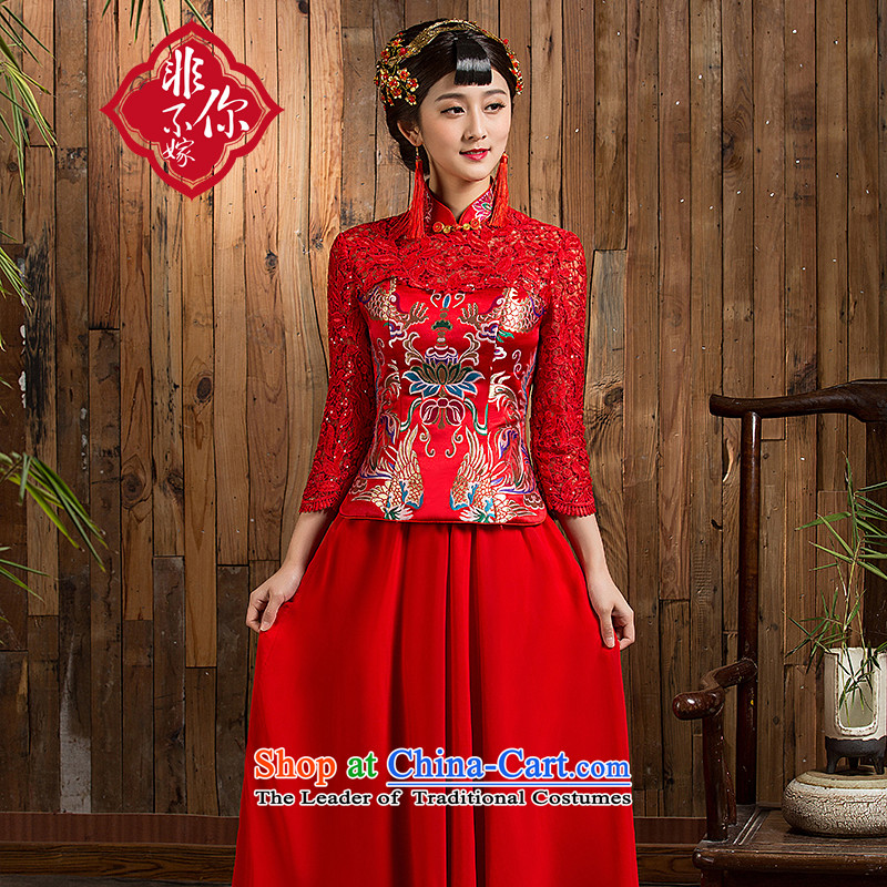 Non-you do not marry autumn 2015 new wedding dress lace engraving on Chinese style wedding dresses Sau San 7 cuff long skirt bows to disk port wedding gown Red 2XL
