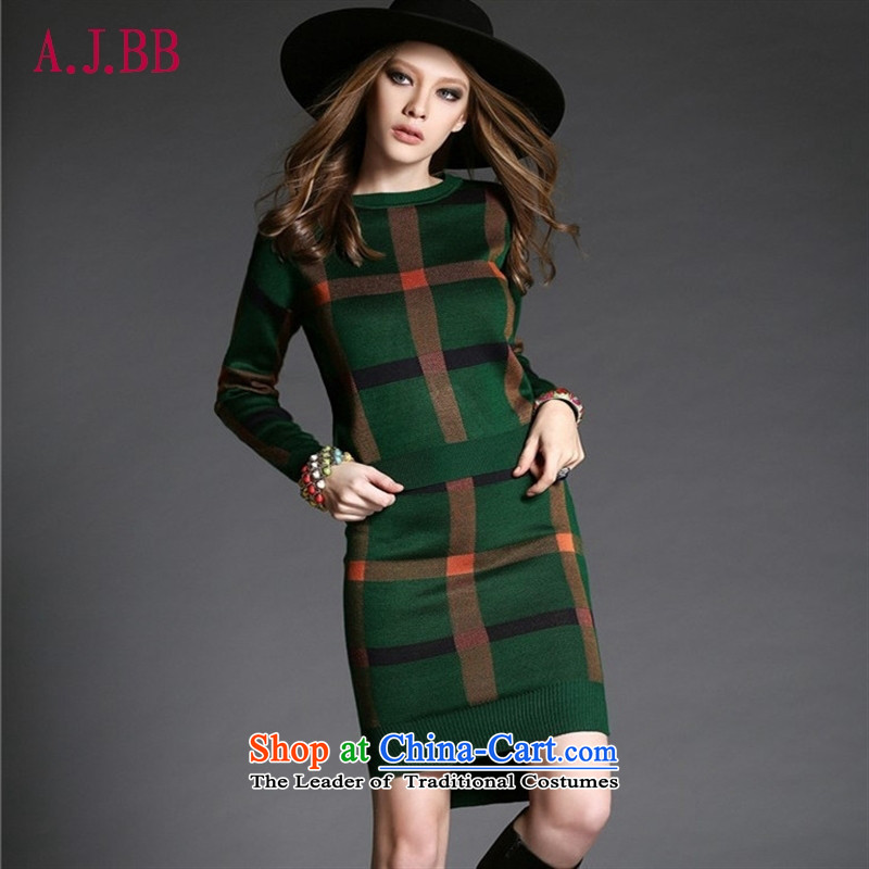 'Connie apparels Memnarch autumn 2015 Western new boxed sweater skirt Fashion Plaid Sau San package and forming the skirt will blue skirt kit