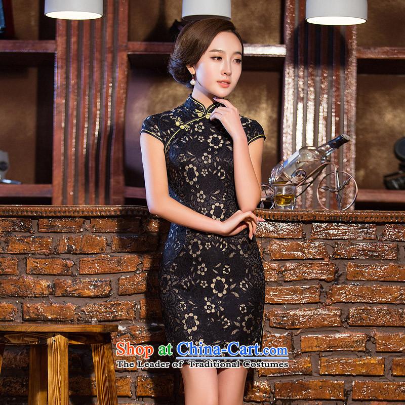 Time Syrian� 2015 skirt new autumn cheongsam with lace black Sau San cheongsam dress retro elegant qipao gown banquet black improved XXL